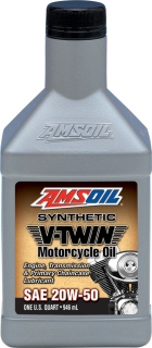 AMSOIL 20W-50 Synthetic V-Twin Motorcycle Oil 1 Quart / 946 ml